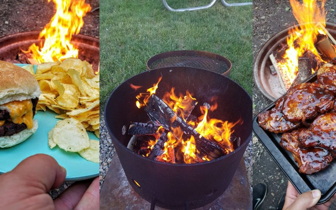Grills and cooking implements for camping