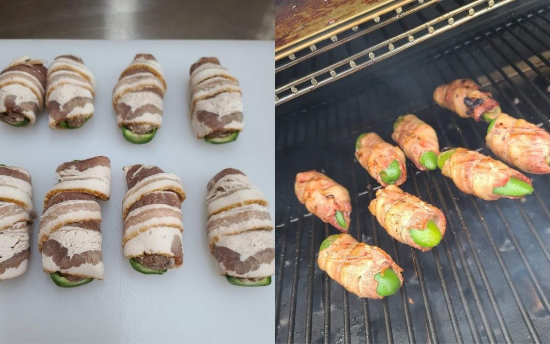 Bacon Wrapped Beef and Horseradish Jalapeno Poppers