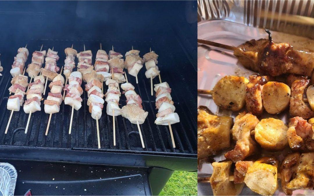 Samurai Bacon and King Oyster Mushroom Skewers